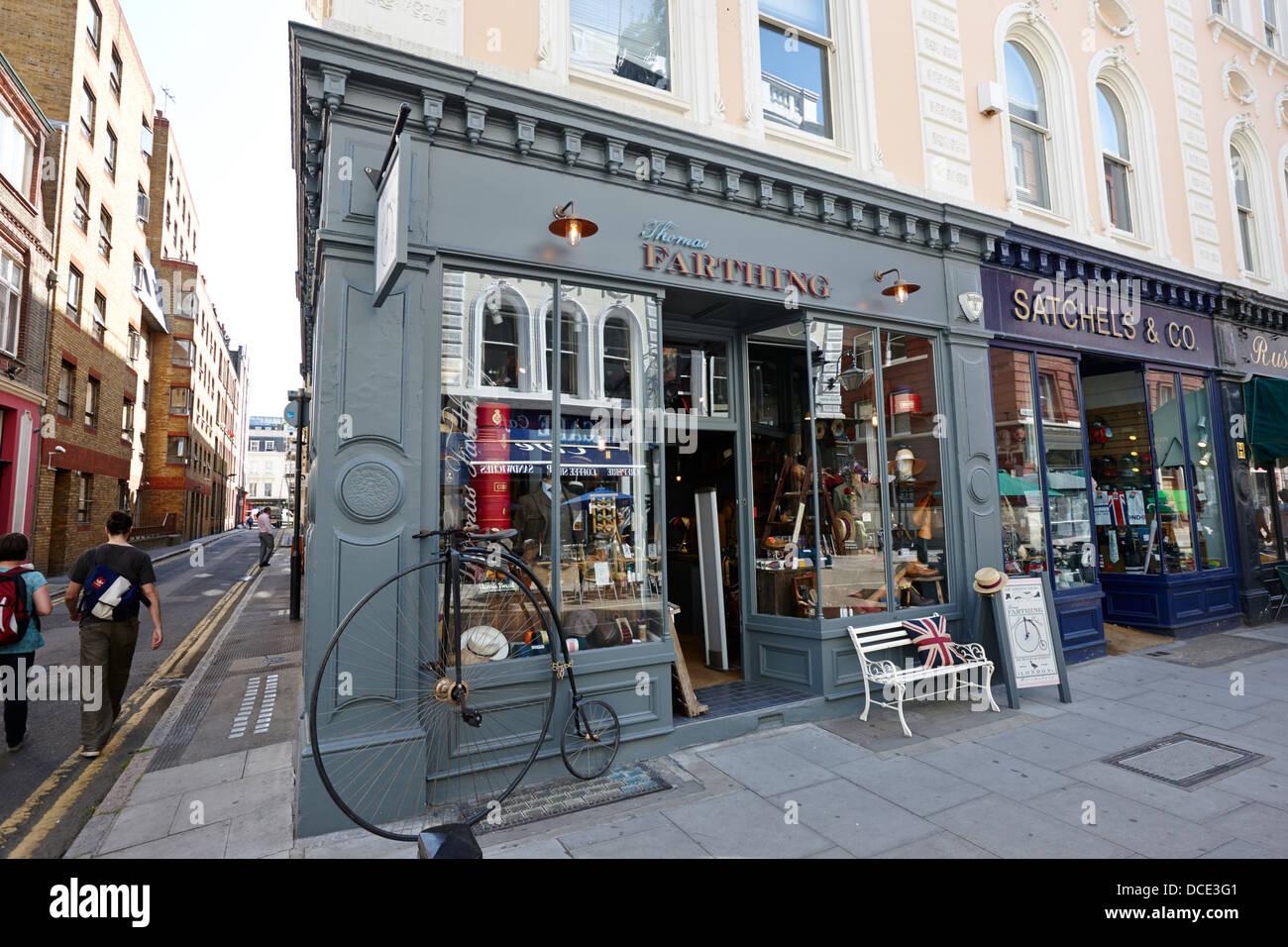 thomas farthing mens clothes store bloomsbury London England UK - Stock Image