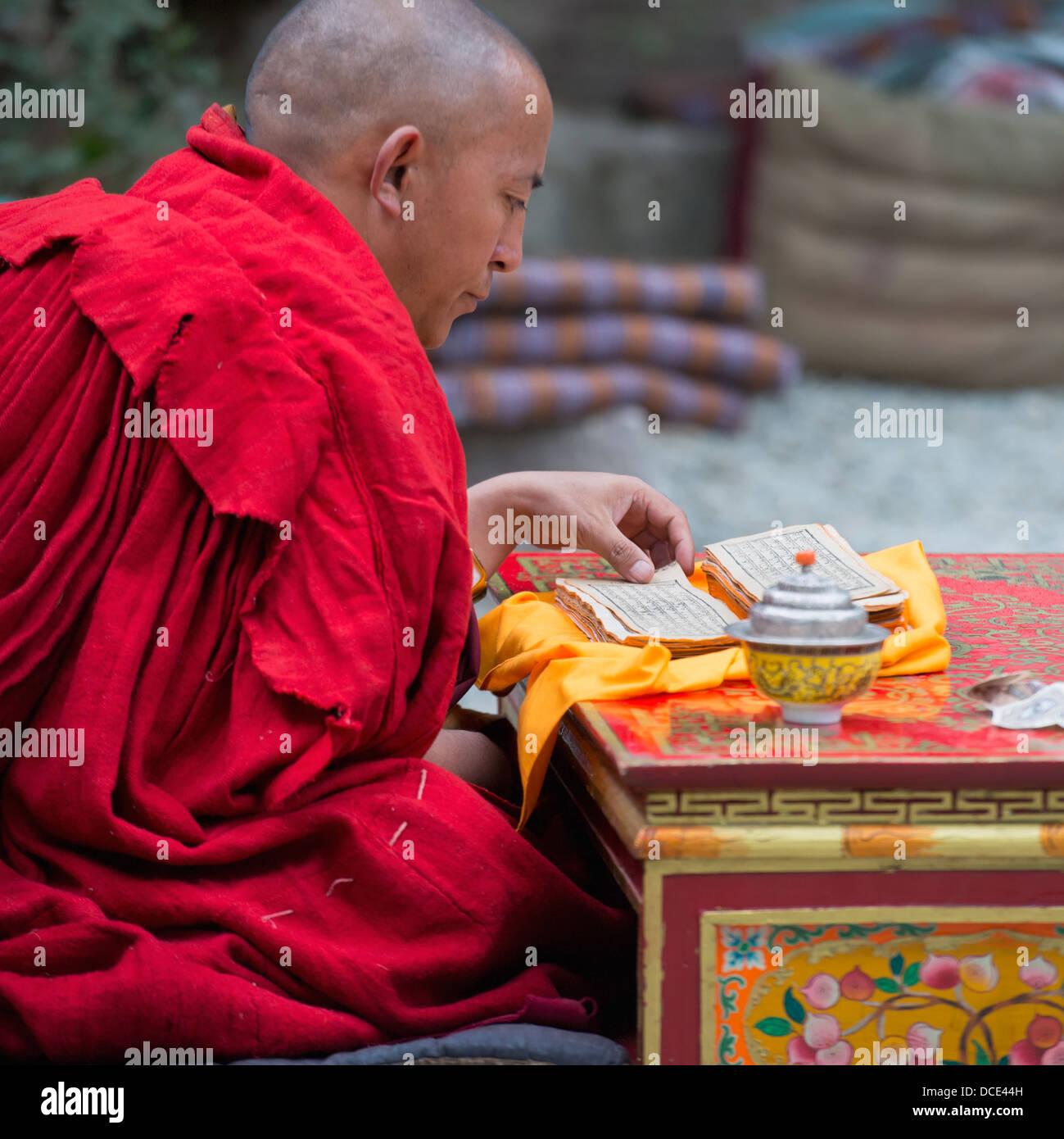 China, Xizang, Tibet, Lhasa, Monk Reading About Teachings Of Buddha At Sera Monastery - Stock Image