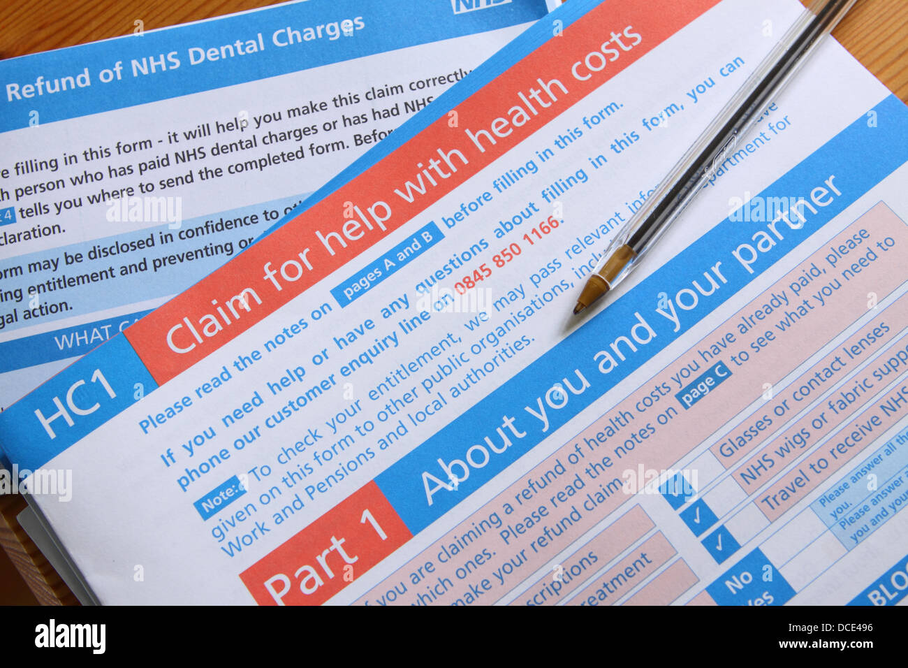 HC1 NHS claim form for help with medical and dental expenses - Stock Image
