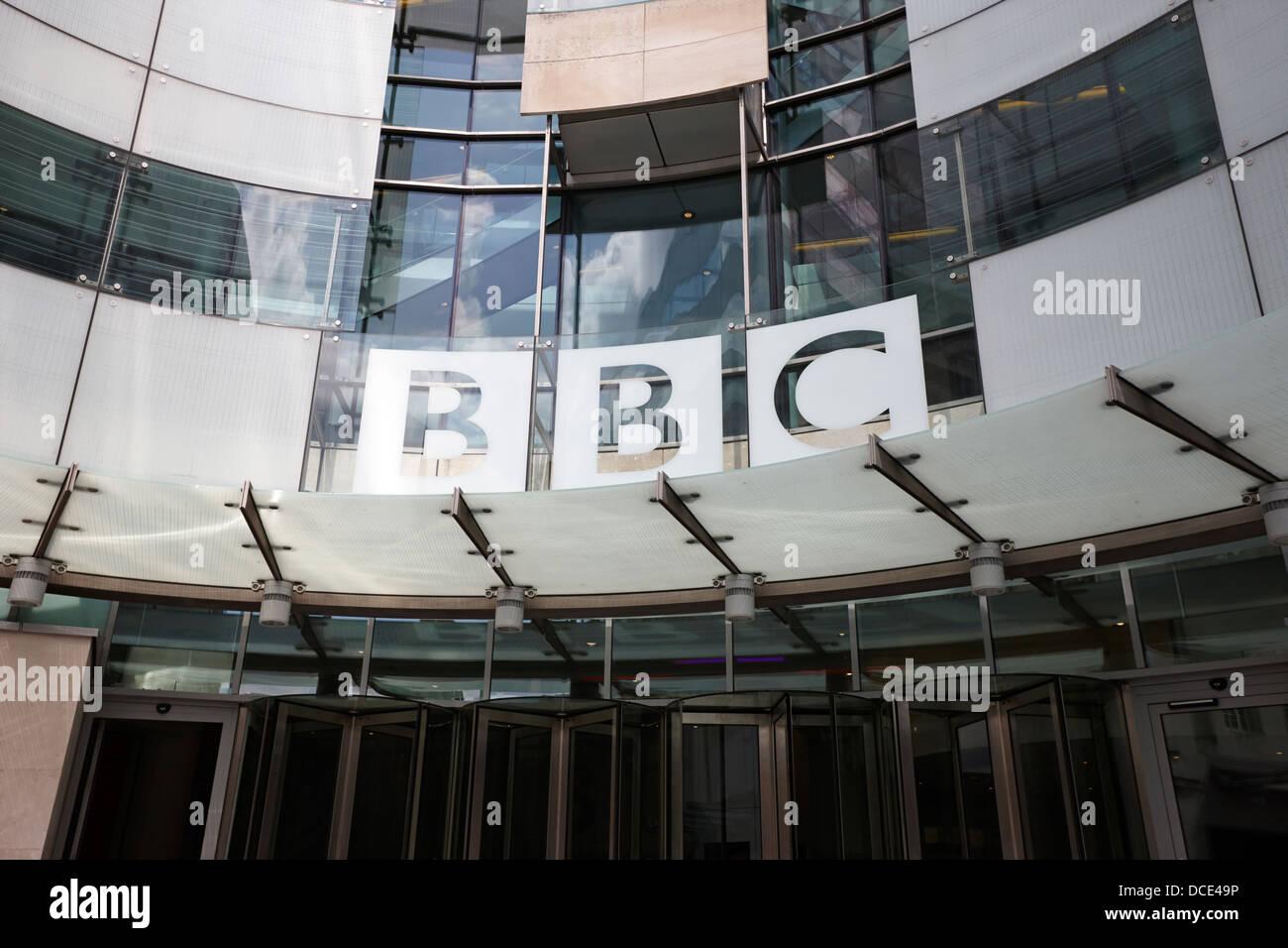 new entrance to bbc broadcasting house London England UK - Stock Image