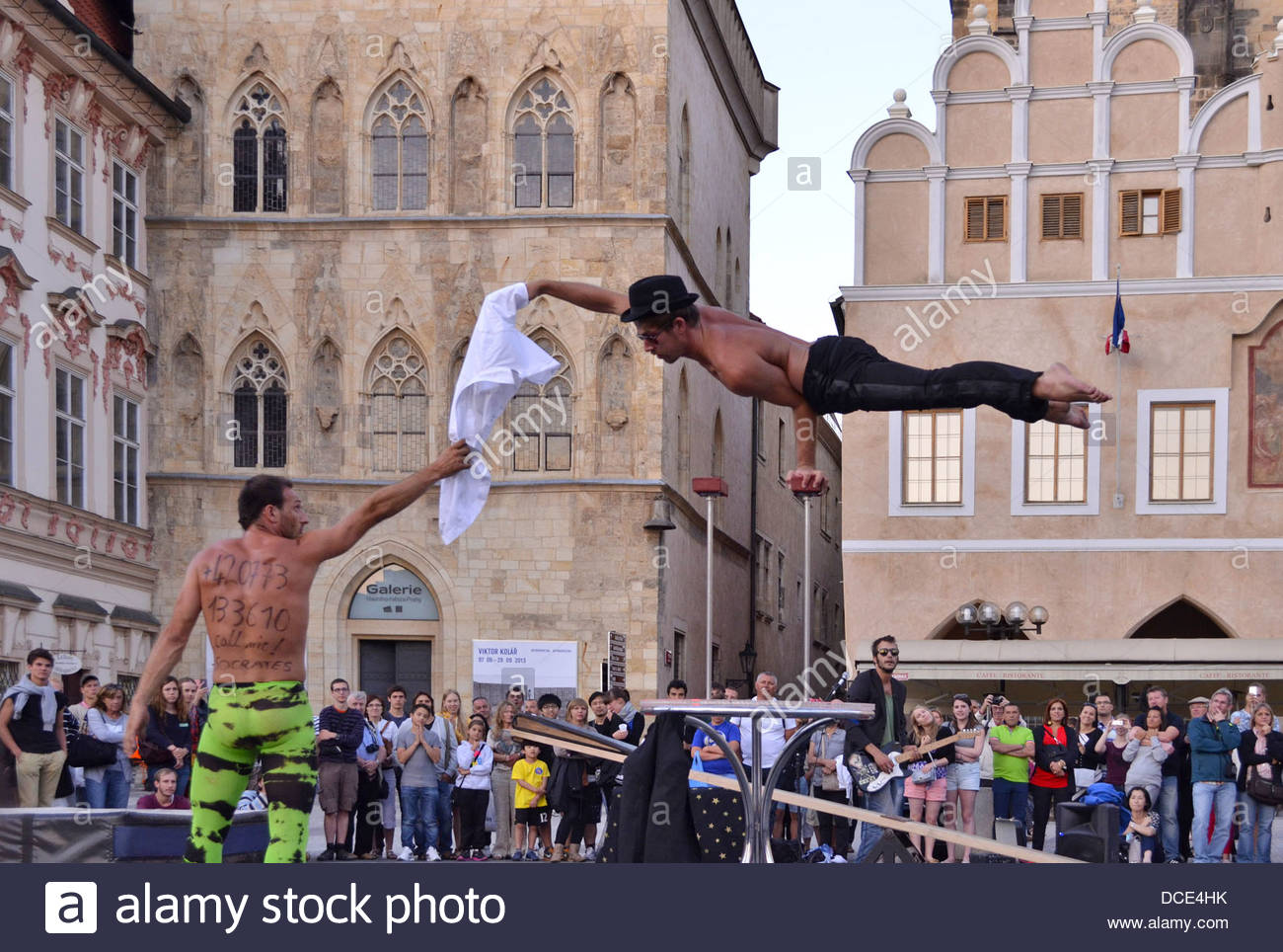 Street performers seen at Old Town Square Prague Czech Republic - Stock Image