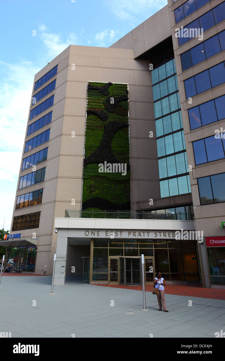 Green Or Living Wall On Exterior Of Pnc Bank Building East Pratt Stock Photo 59317961 Alamy