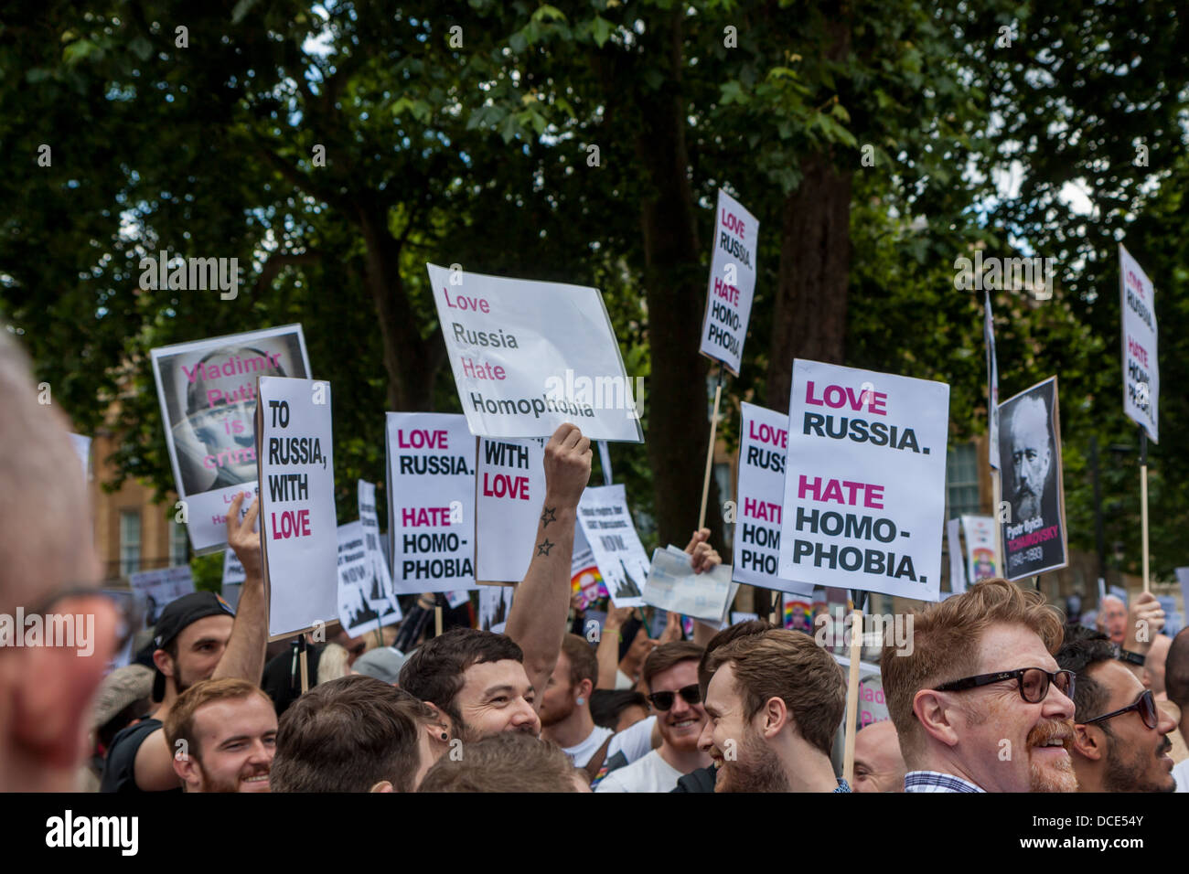 placards denouncing homophobic laws in Russia - Stock Image