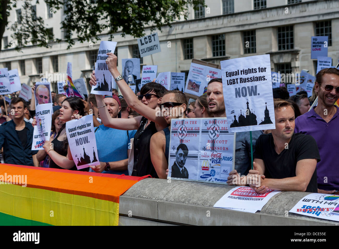 protesters denouncing homophobic laws in Russia - Stock Image