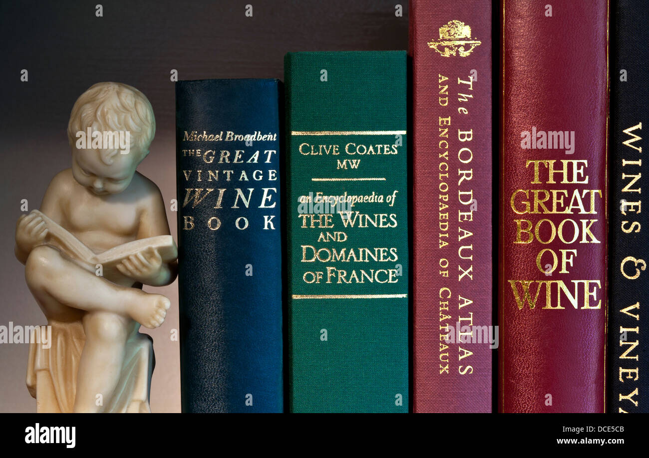 Variety of classic wine reference books on bookshelf with carved bookend figure of boy reading - Stock Image