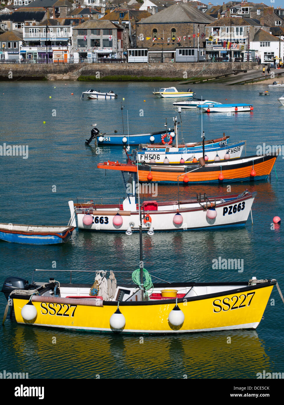 Boats in St Ives harbour, Cornwall Stock Photo