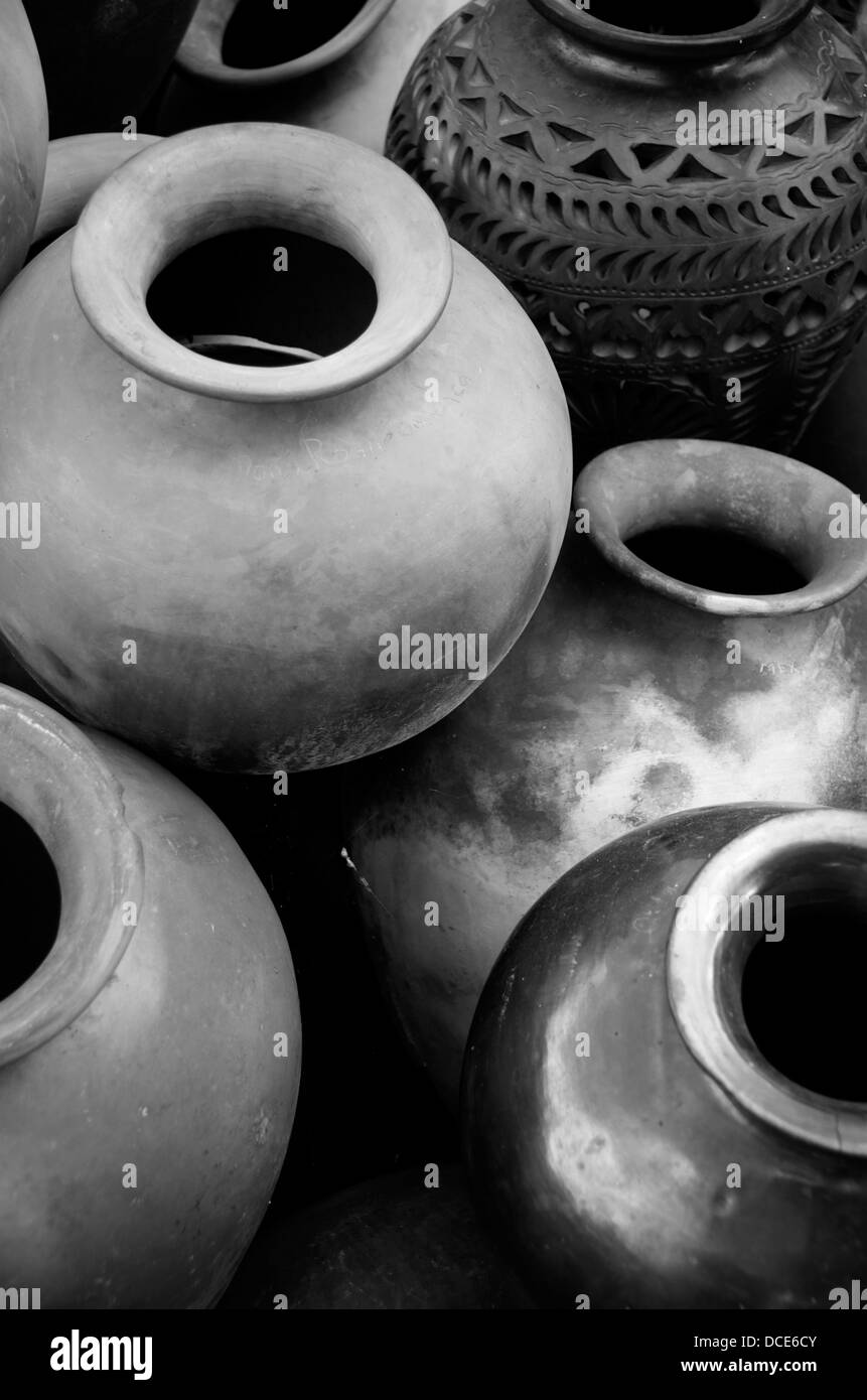 clay pottery ceramics Oaxaca Mexico, Black Mud - Stock Image