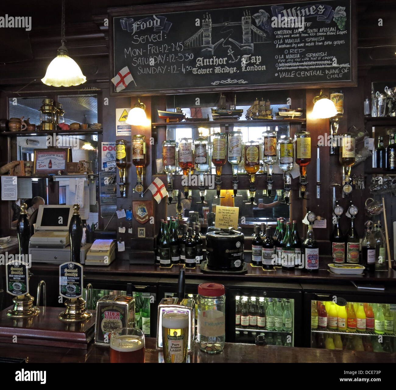 Bar area inside The Anchor Tap Samuel Smiths Pub Southwark London - Stock Image
