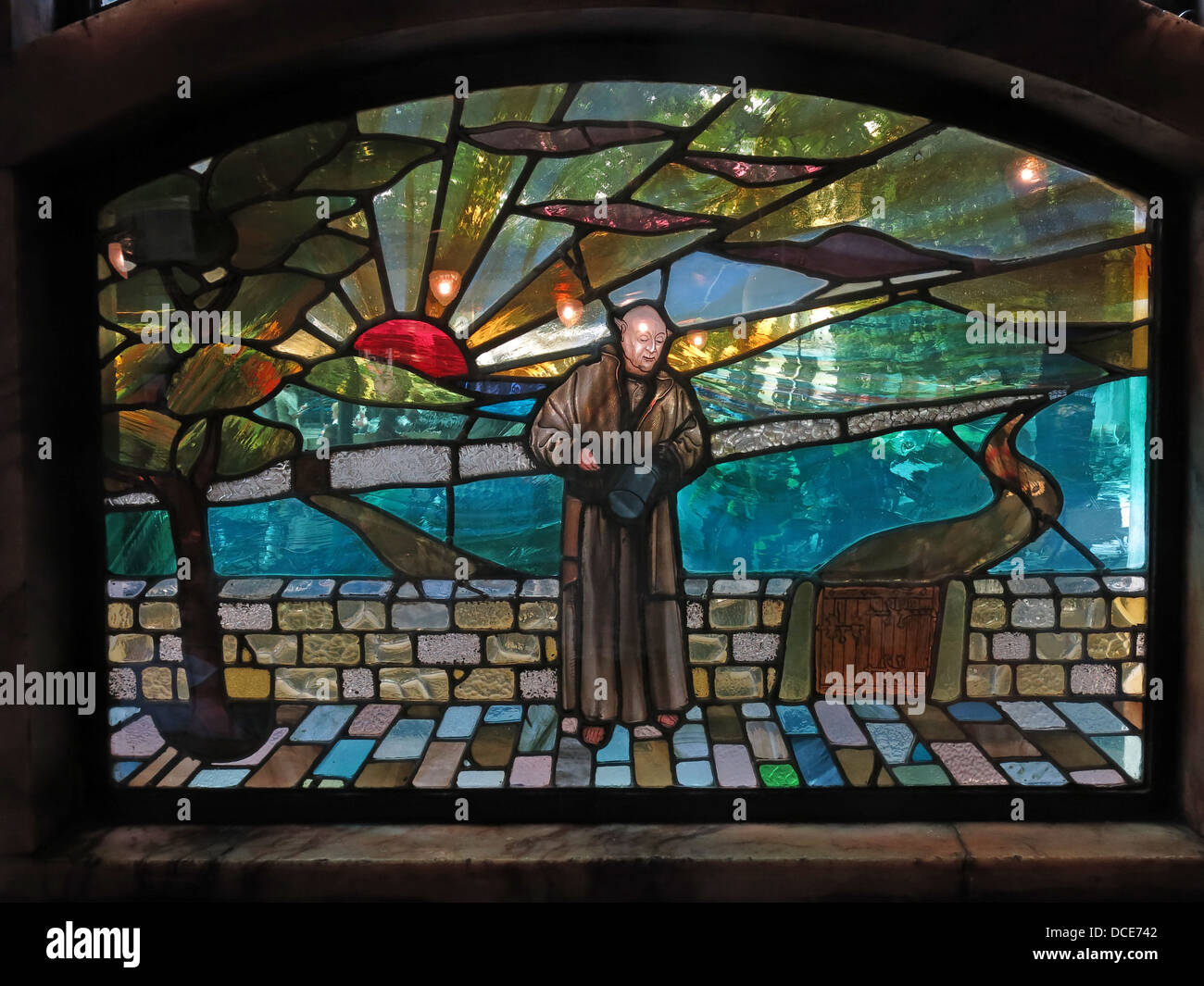 Stained glass window at the Black Friar pub, Blackfriars, London, England UK EC4V 4E - Stock Image