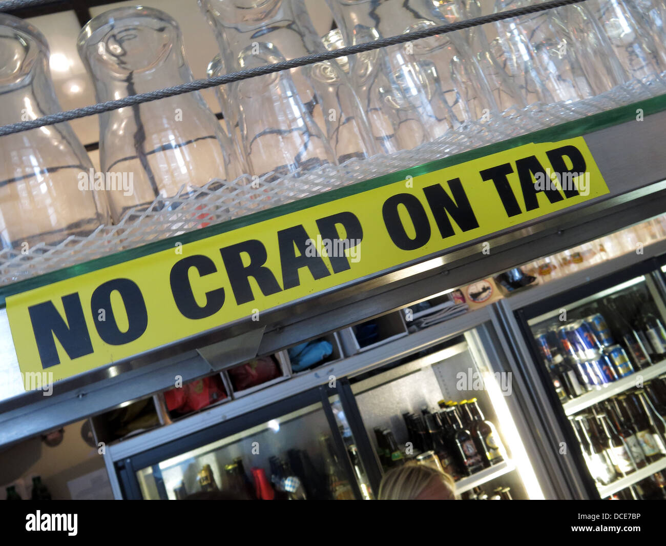 'No Crap On Tap' announces the Rake bar close to Borough market south London (Southwark ) - Stock Image