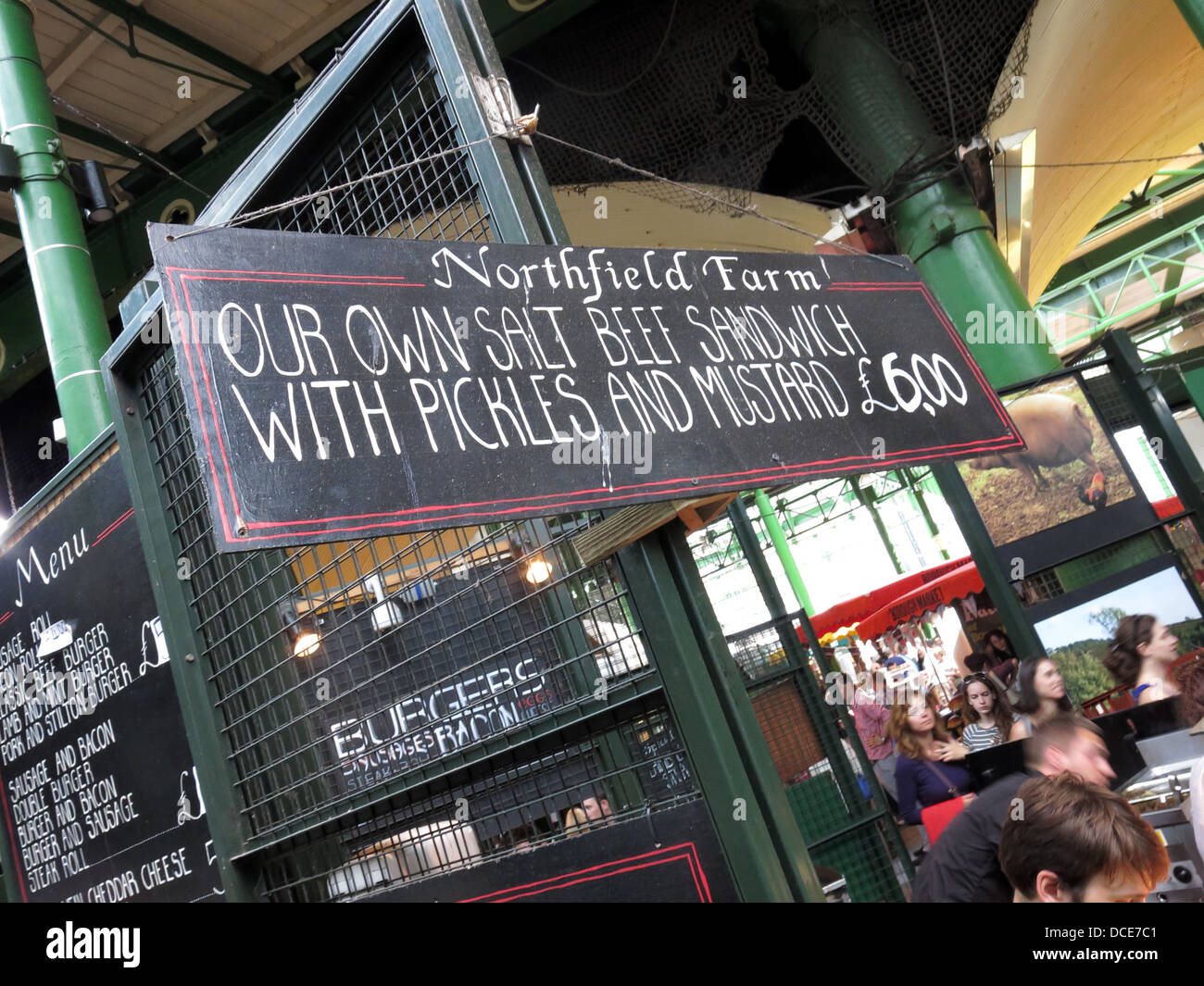 Northfield Farm stall on Borough Market , Southwark , London , England . Advertising quality salt beef sandwiches - Stock Image