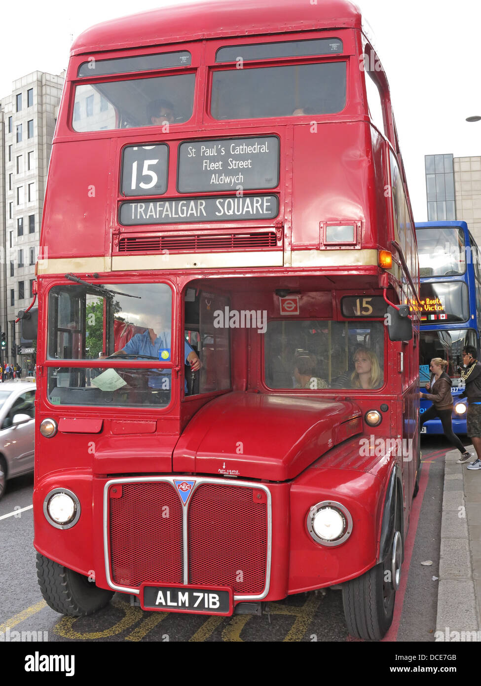 No 15 red Routemaster to Trafalgar Sq London - Stock Image