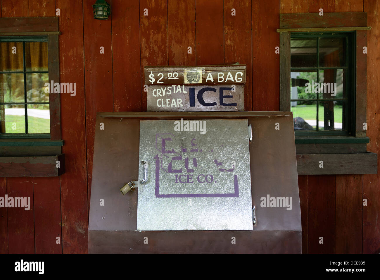 Ice cooler sits outside an old general store. - Stock Image