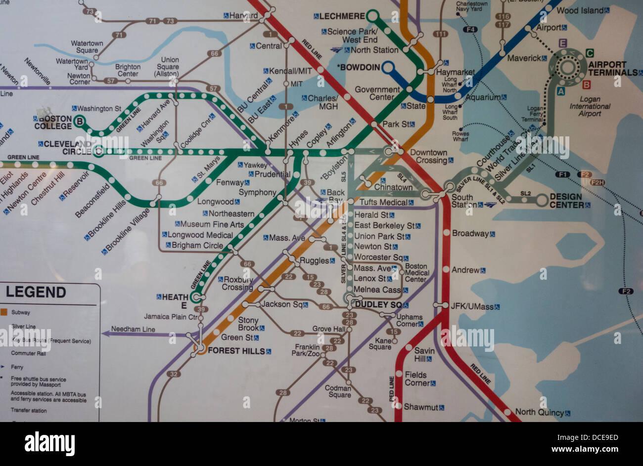Boston T Subway Map.Boston Ma T Subway Map Stock Photo 59321765 Alamy