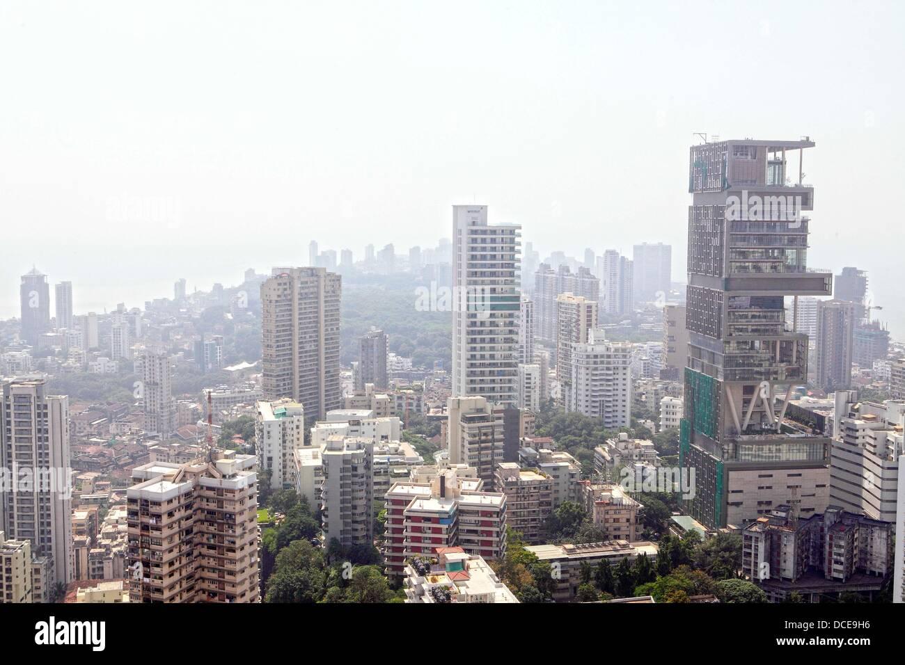 November 2, 2010 - Mumbai, Maharashtra, India - Ariel view of the Skyline of  Mumbai shows newly constrcuted luxury Stock Photo