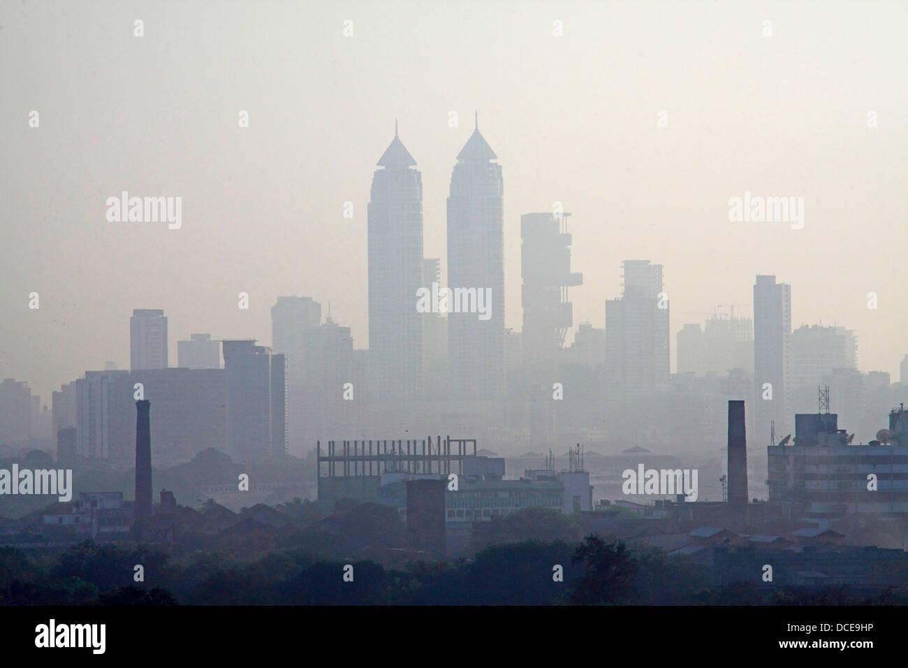 November 7, 2011 - Mumbai, Maharashtra, India - Ariel view of the Skyline of  Mumbai shows newly constrcuted luxury Stock Photo