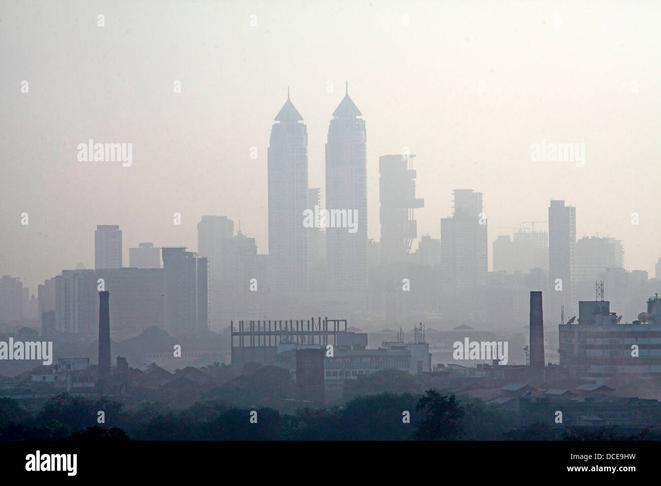 November 7, 2011 - Mumbai, Maharashtra, India - Ariel view of the Skyline of  Mumbai shows newly constrcuted luxury - Stock Image