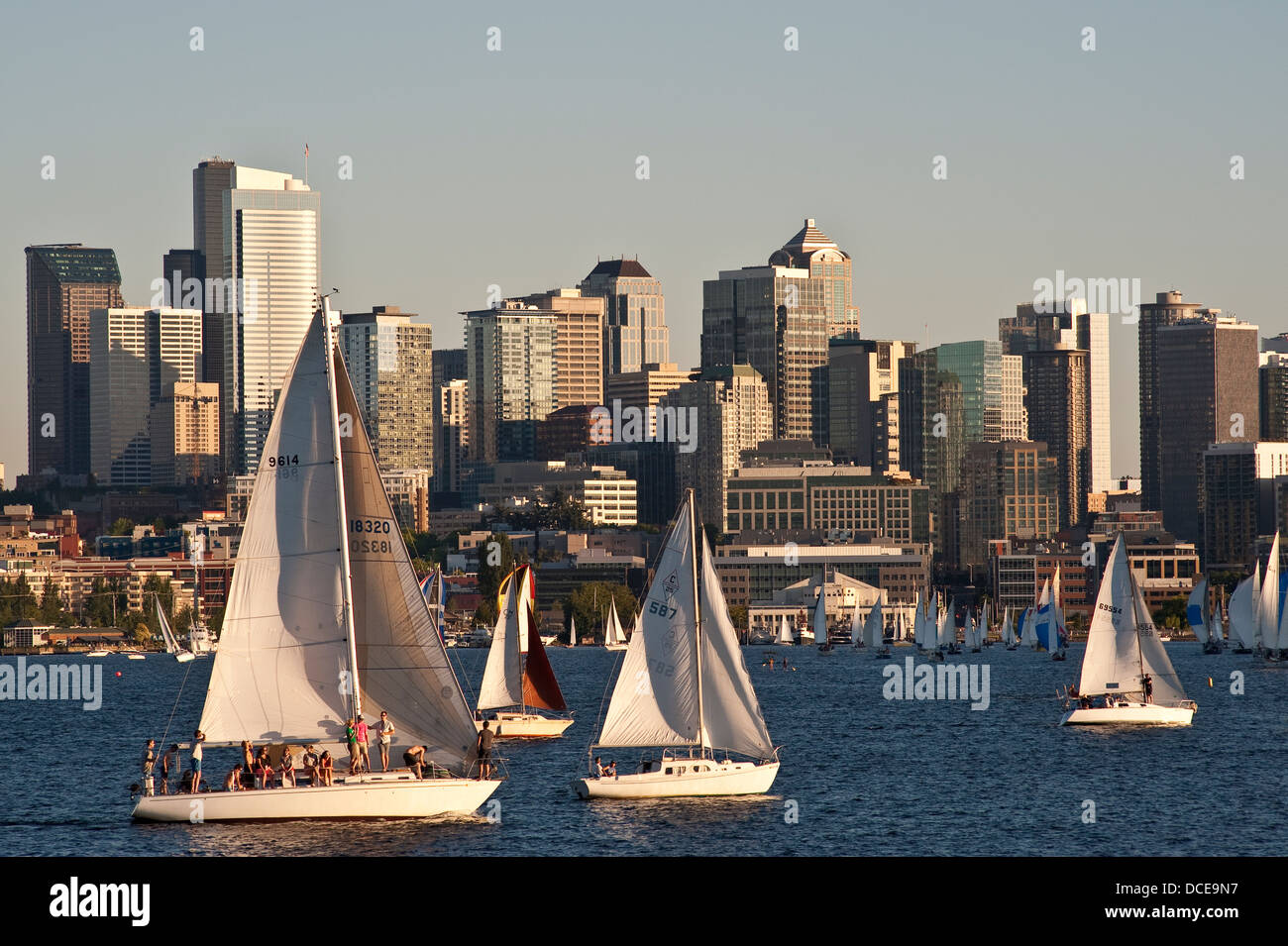 Seattle skyline with sailboats racing on Lake Union Washington State - Stock Image