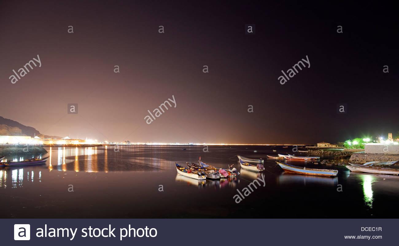 Boats at a harbor, Aden, Yemen - Stock Image