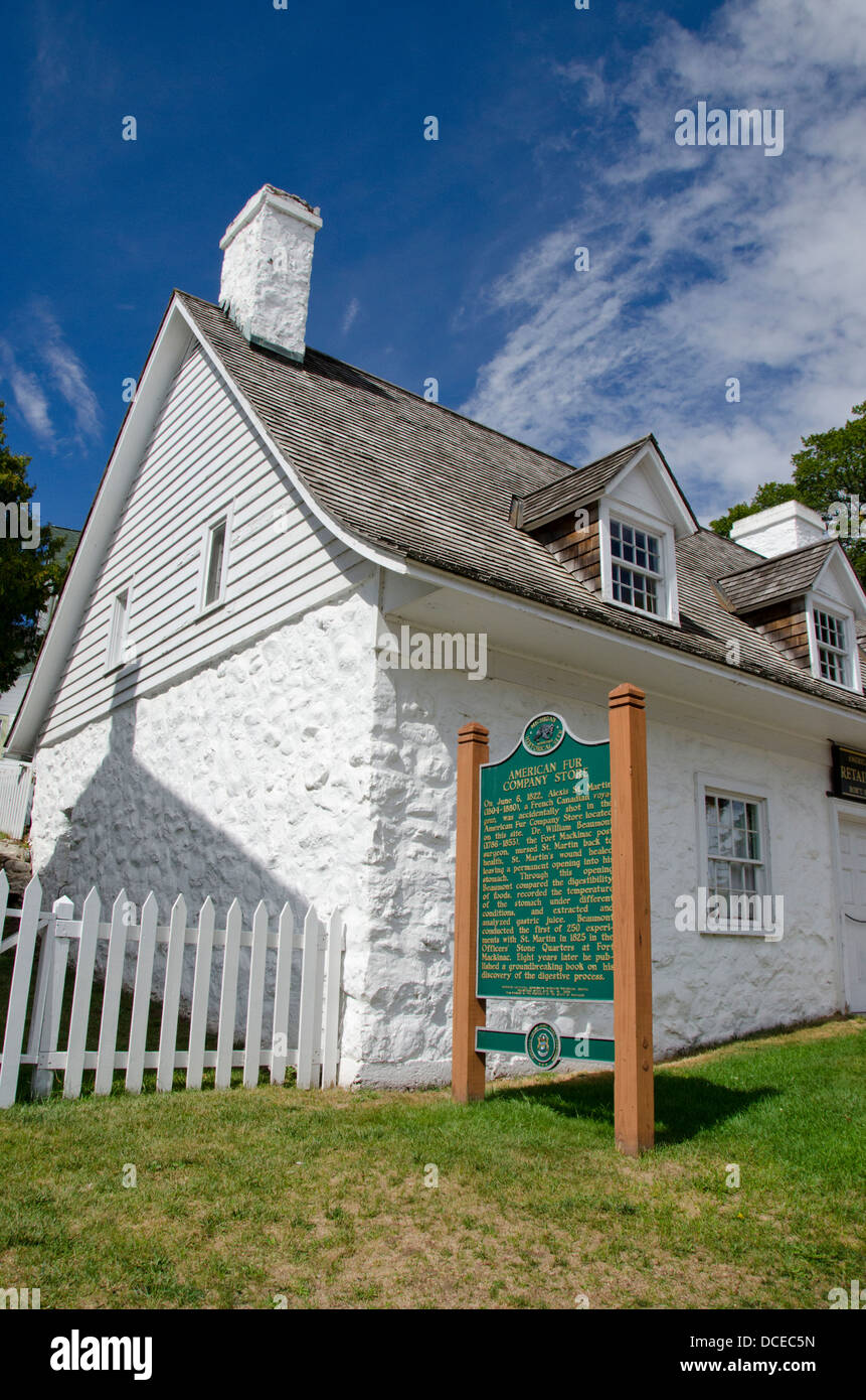 Michigan, Mackinac Island. Historical Site, American Fur Company Store located on this site from 1786-1853. Stock Photo