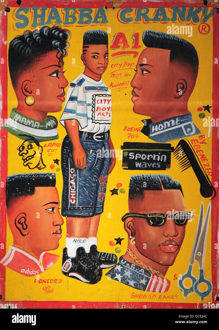 Adverts for Barbers.wood.paint.Cameroon.Ghana.Togo.20 th century. - Stock Image