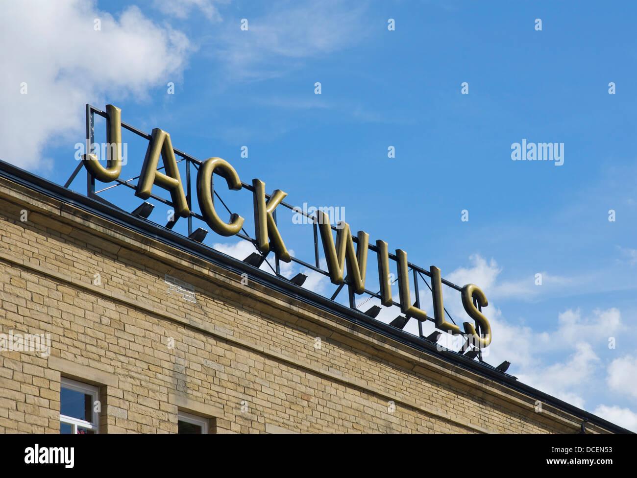 Sign for Jack Wills shop, Dean Clough Mills, Halifax, West Yorkshire, England UK - Stock Image
