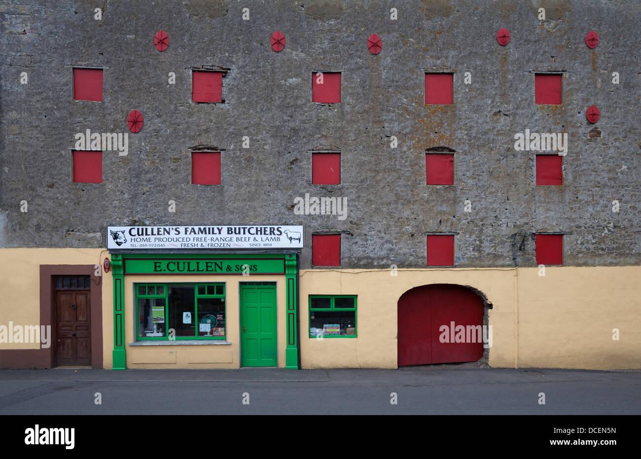 Traditional butchers Leighlinbridge, County Carlow, Ireland - Stock Image