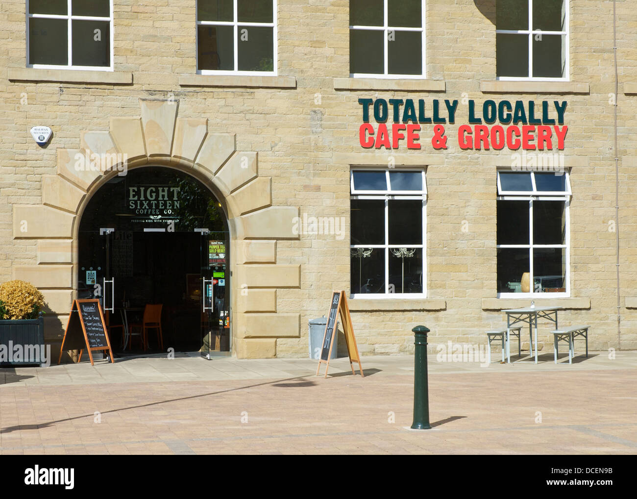 Totally Locally, Cafe and Grocery, at Dean Clough Mills, Halifax, West Yorkshire, England UK - Stock Image