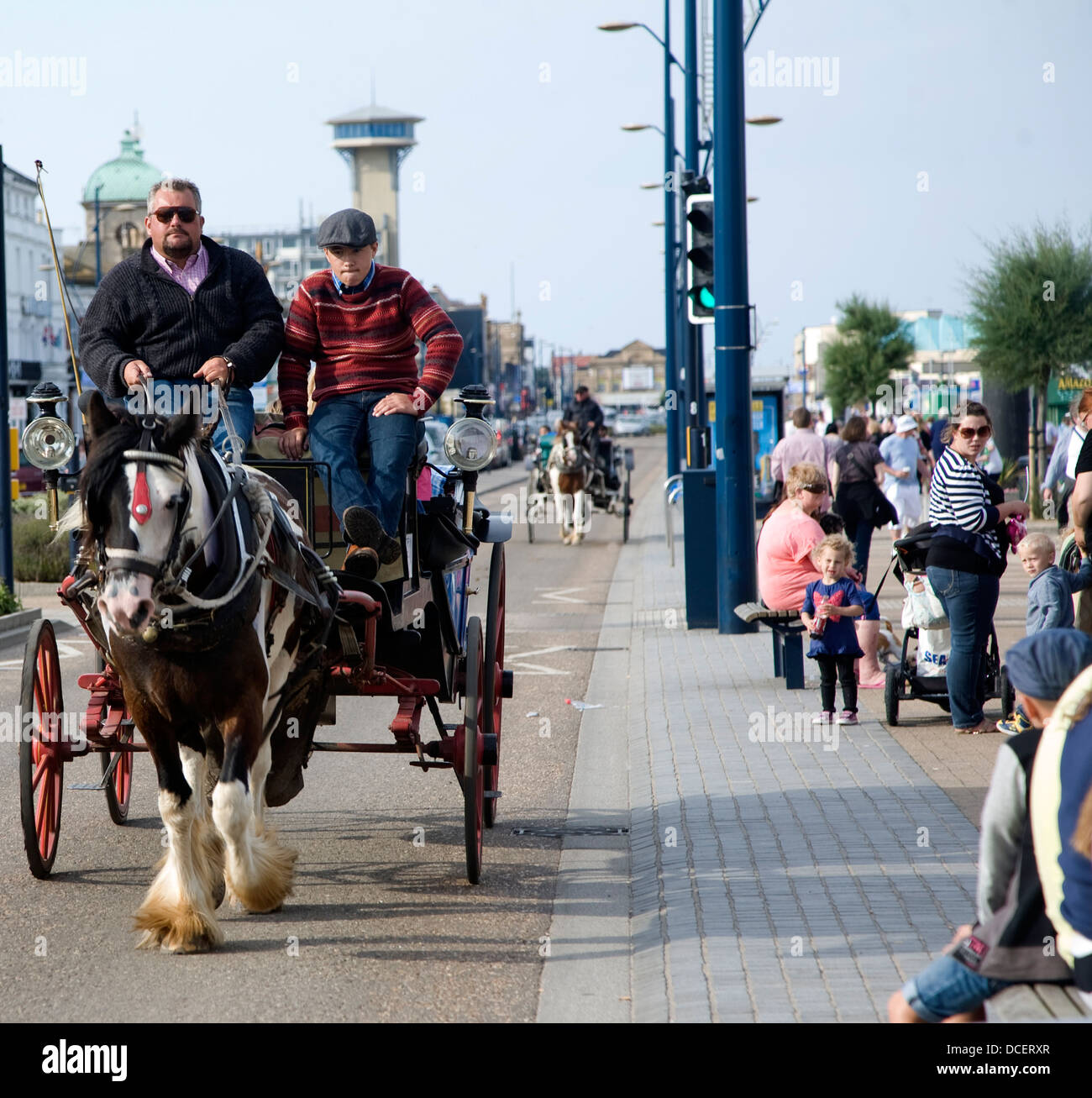 Pony and trap carriage ride Great Yarmouth, Norfolk, England - Stock Image
