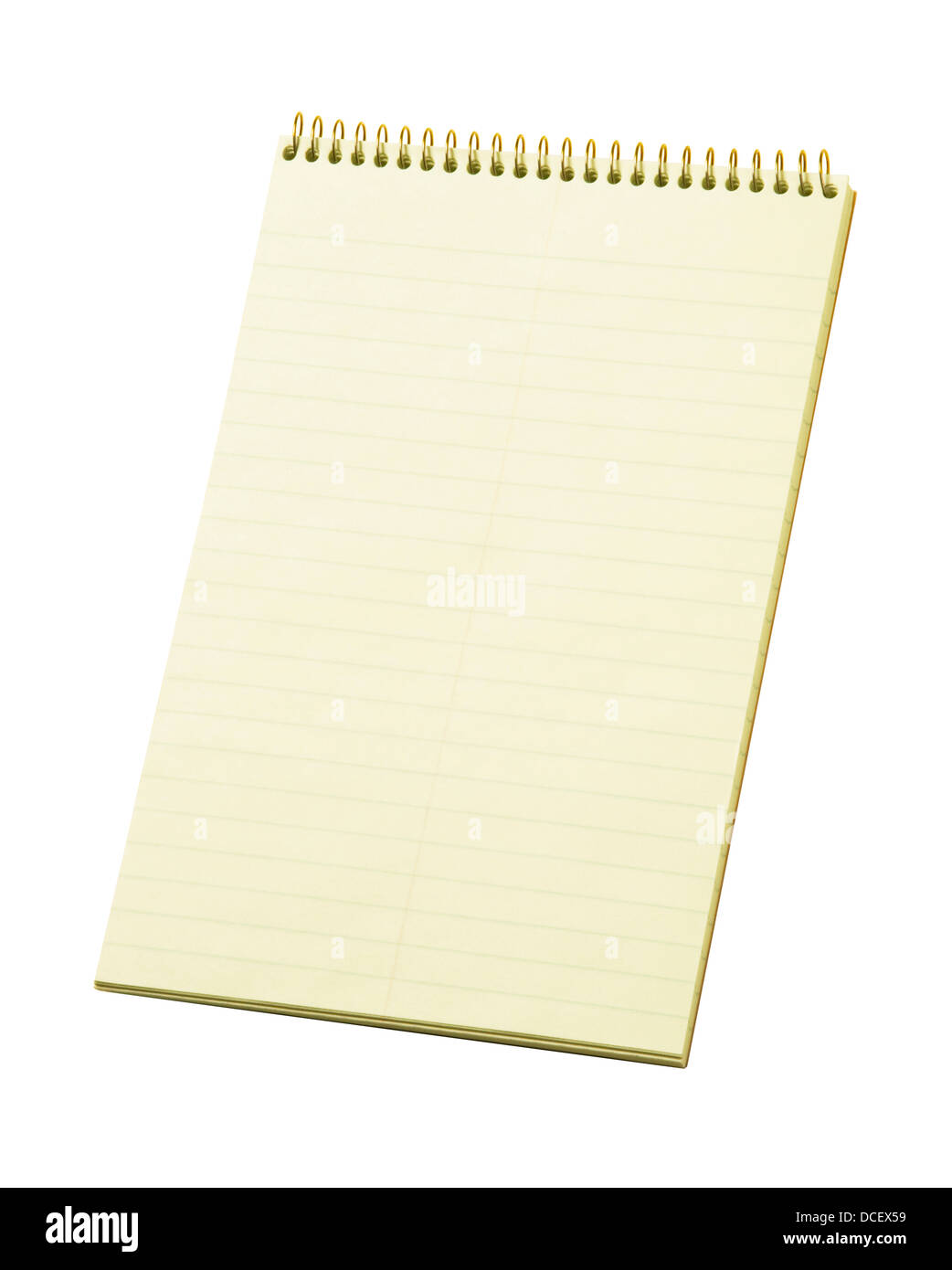 Stenography's lined notepad isolated against white - Stock Image