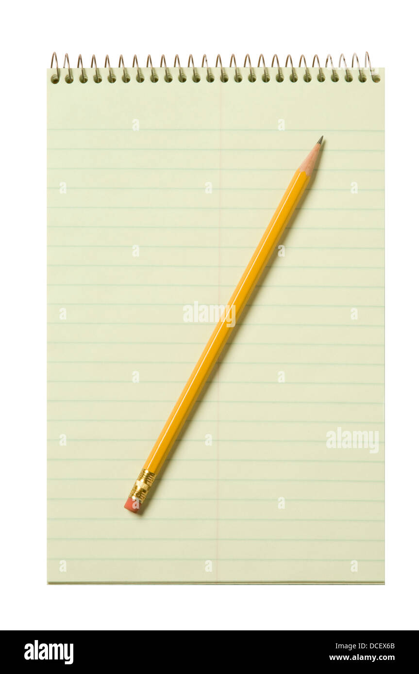 Stenographer's pad flat with a yellow pencil isolated against white background - Stock Image