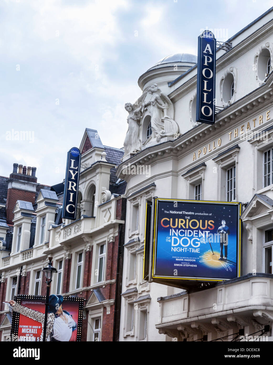 Sign outside the Apollo theatre in Shaftesbury Avenue, West End, London, W1, - Stock Image