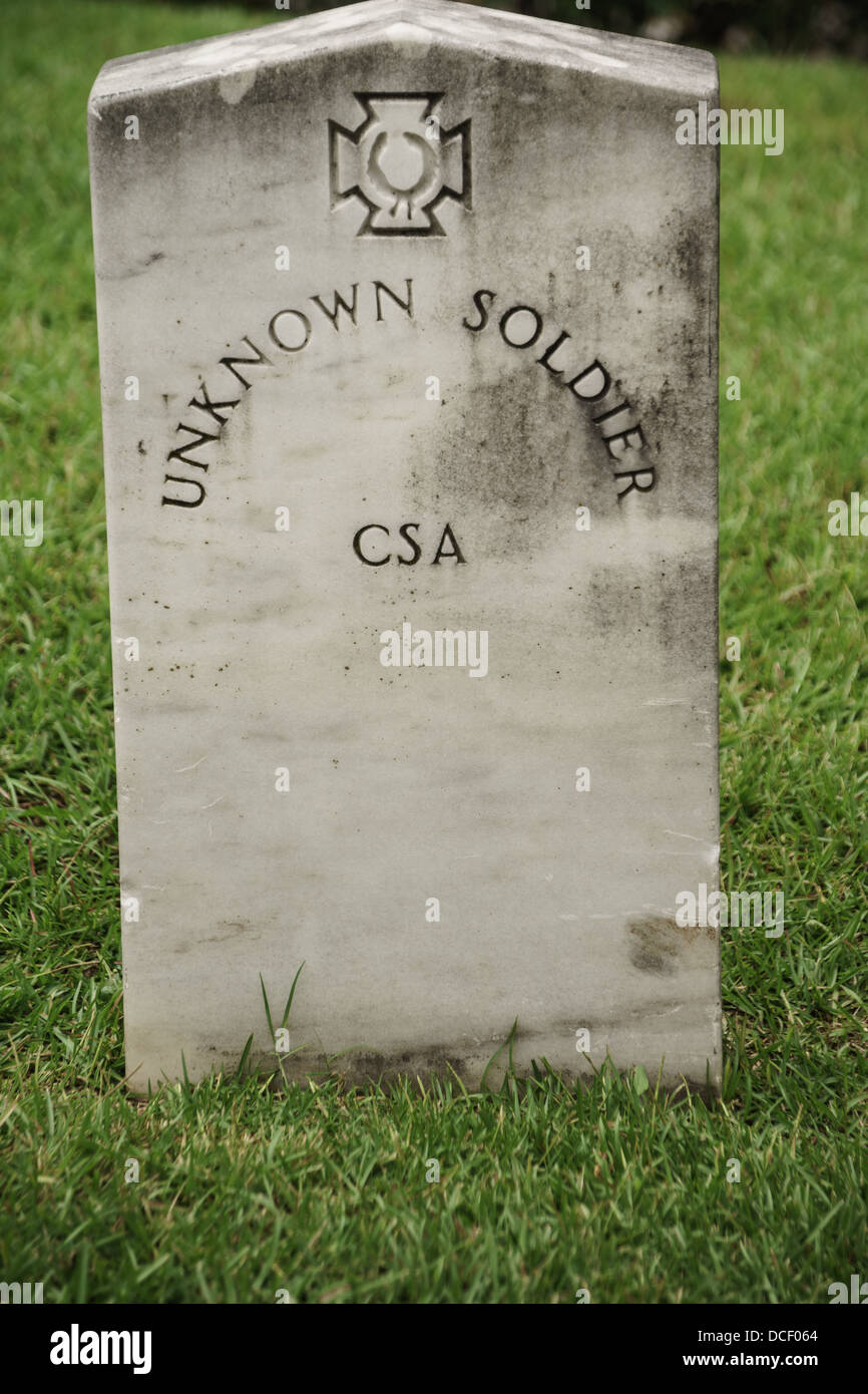 CSA Confederate States of America unknown soldier tombstone