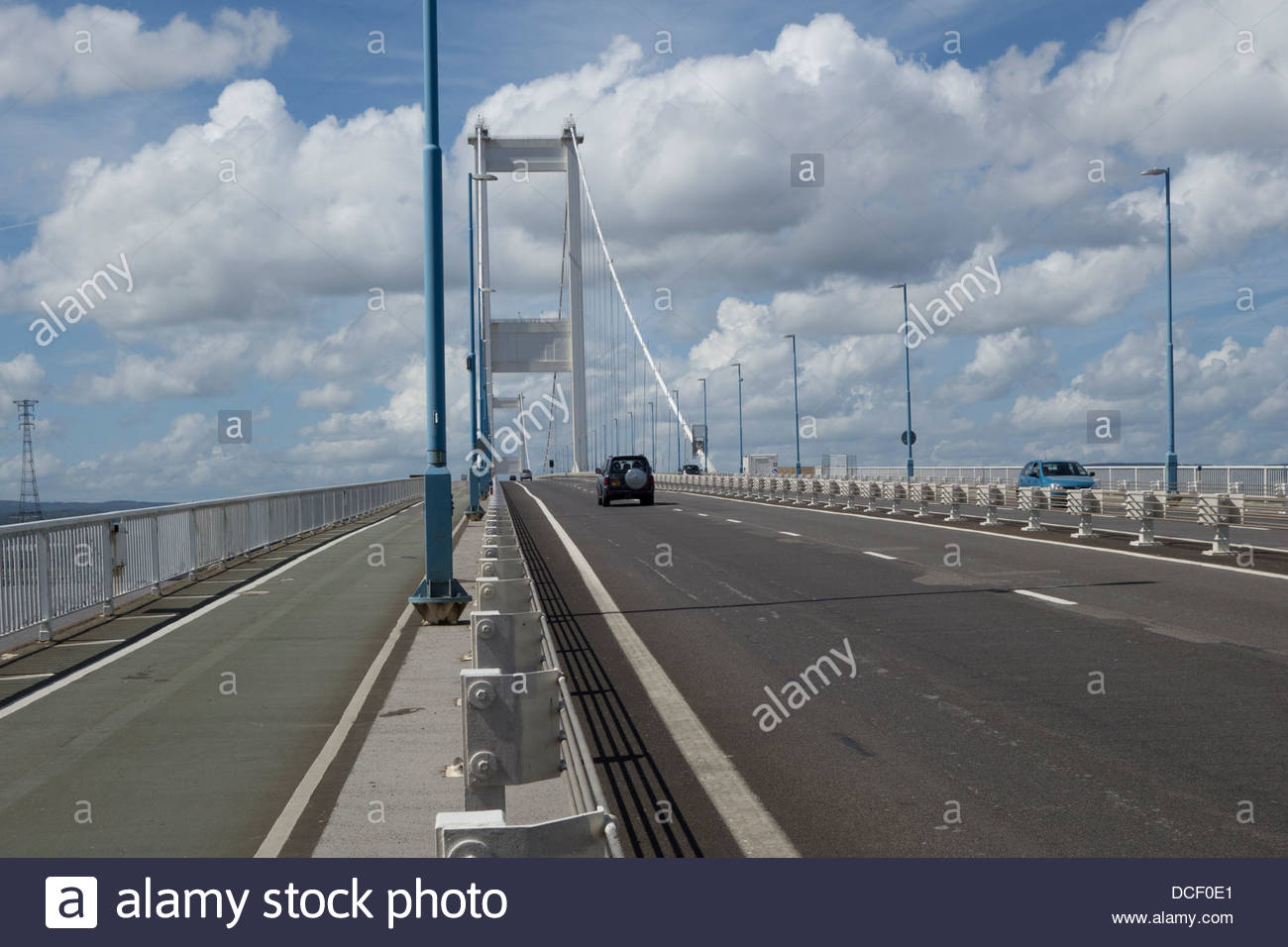 The Severn Road Bridge between England and Wales, incorporating a cycle path on its southern side - Stock Image