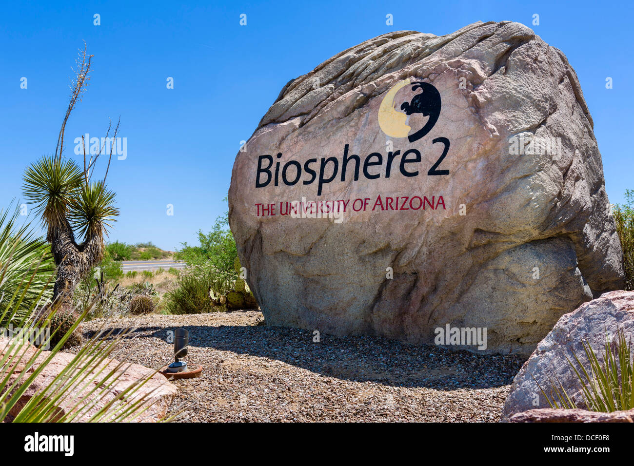 Entrance sign on road to Biosphere 2 Earth Systems Science Research Facility, Oracle, near Tucson, Arizona, USA - Stock Image