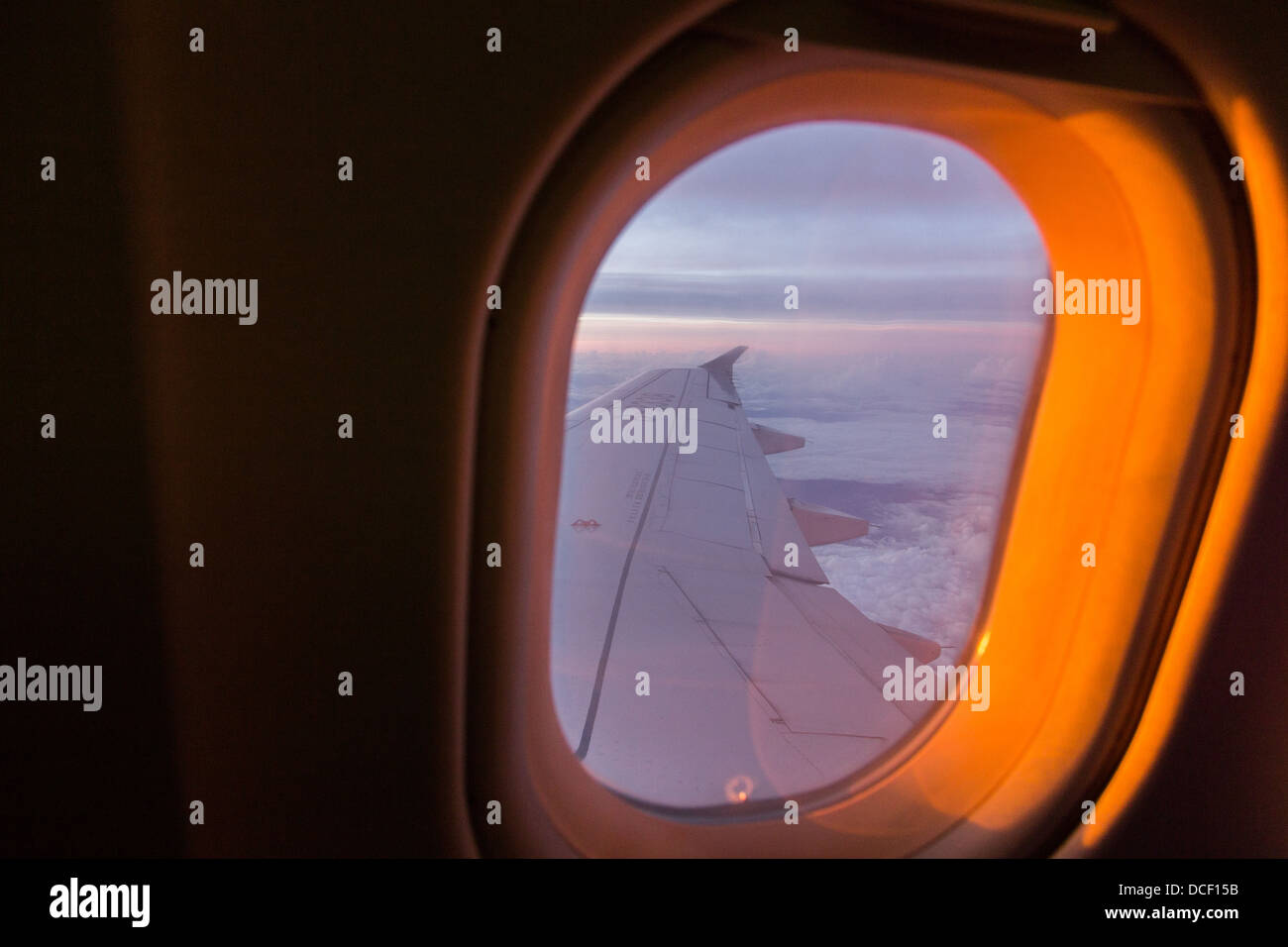 A view out the South China Sea onboard an air plane Stock Photo