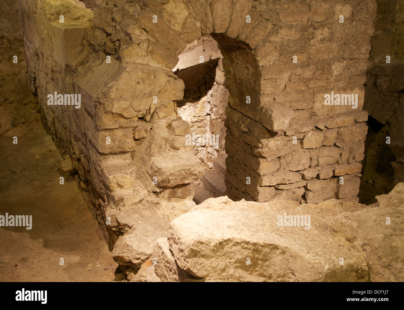 Remains of a medieval cellar in the archaeological crypt under the parvis of Notre-Dame de Paris Stock Photo