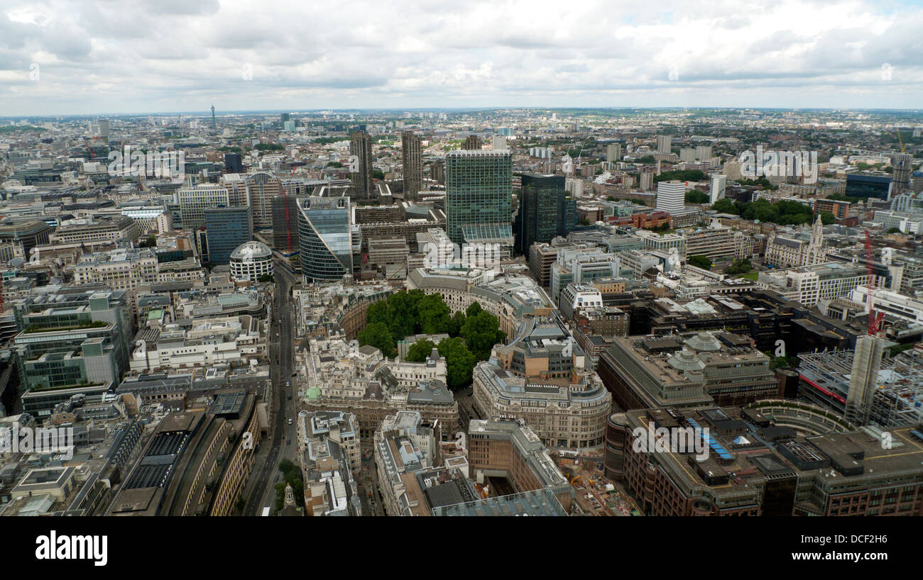 Aerial view north west along London Wall over Broadgate, Finsbury Circus, City Point, Barbican in the City of London Stock Photo