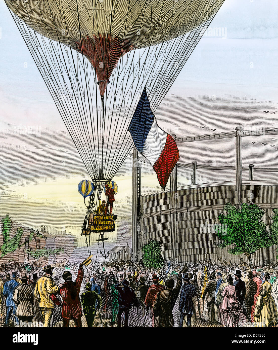 Balloon ascent of Jovis and Mallet from La Villette Gasworks, Paris, 1880s. Hand-colored woodcut - Stock Image