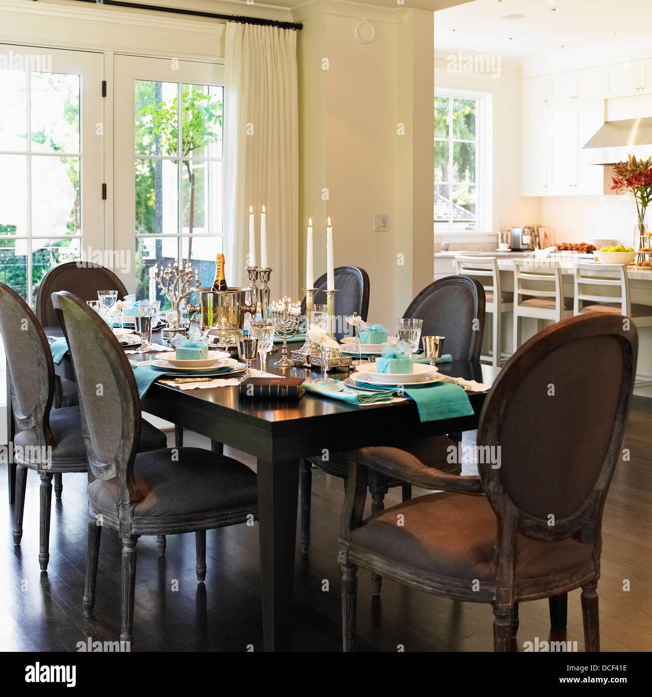Dining Table Set For Hanukkah CelebrationVictoria Vancouver Island British Columbia Canada