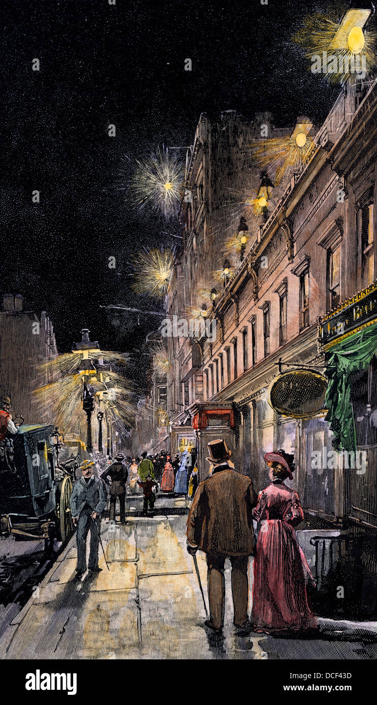 Electric streetlights connected from underground wiring, New York City, 1889. Hand-colored woodcut - Stock Image