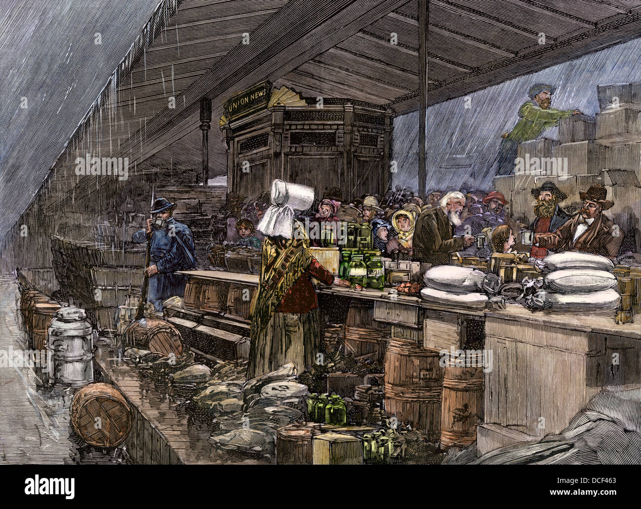 Johnstown flood relief station and morgue at the Pennsylvania Railroad depot, 1889. Hand-colored woodcut - Stock Image