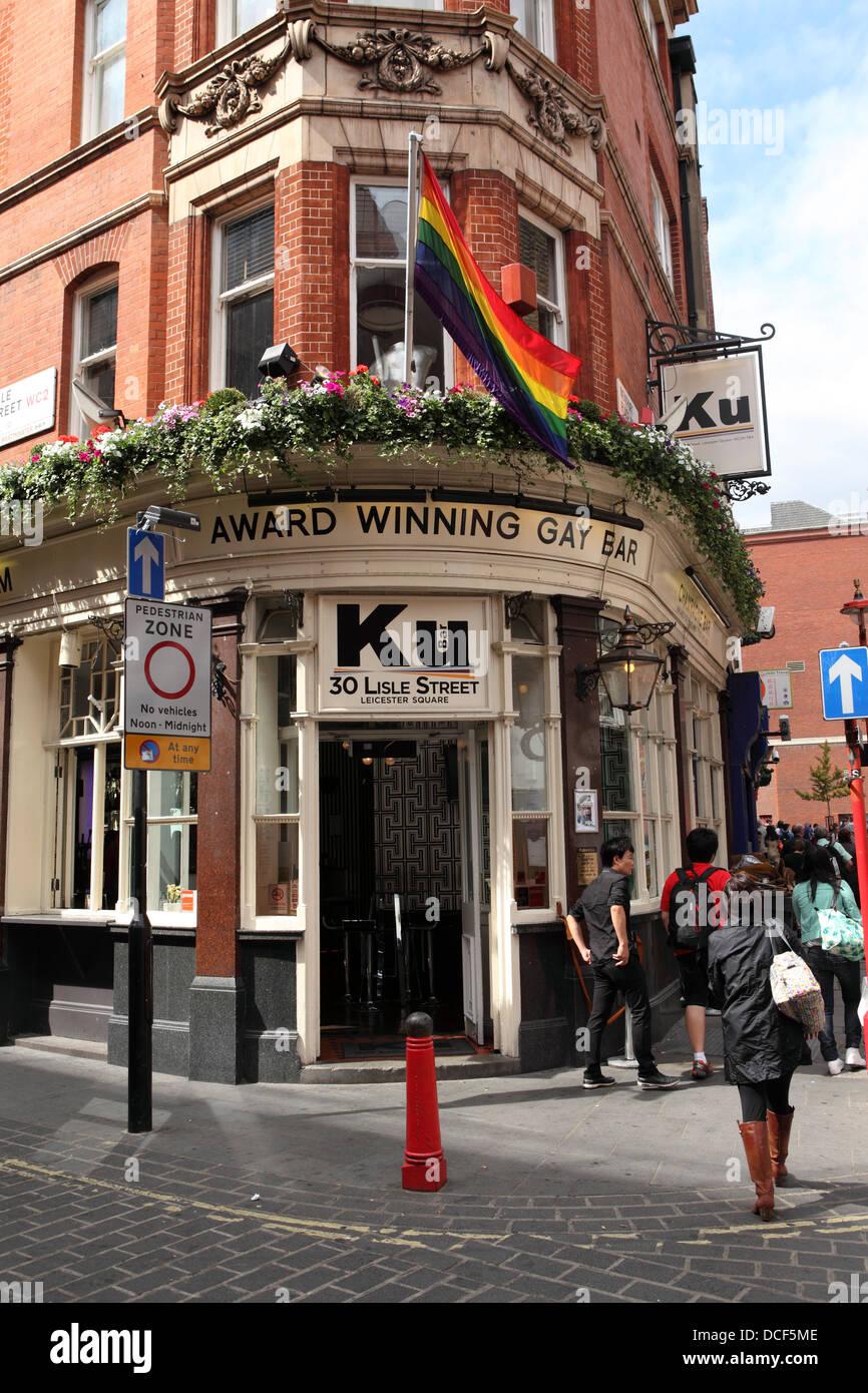 Ku, an award winning gay bar, in Lisle Street, London, England.