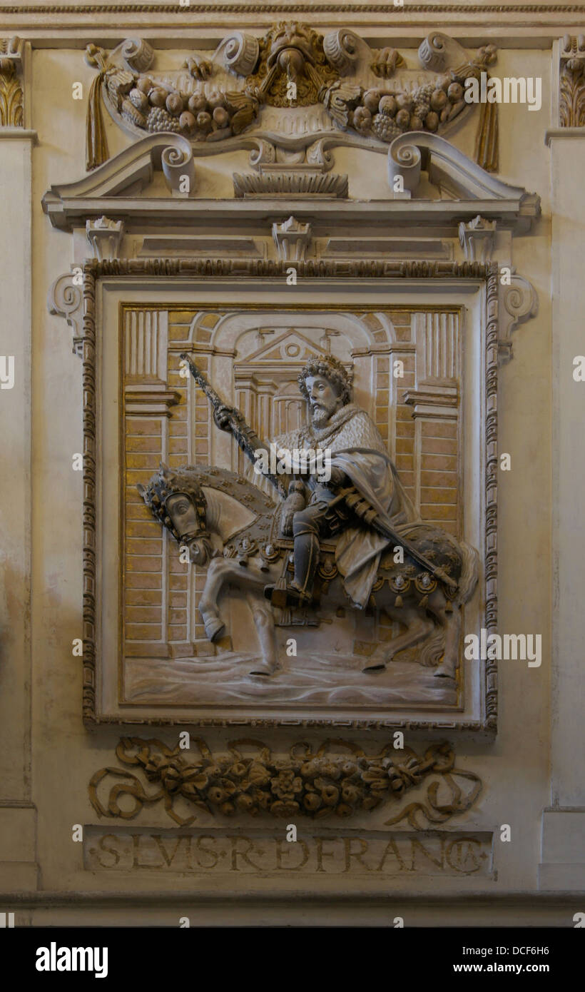 Relief of king Louis IX of France (Saint Louis), Cathedral of Cordoba, Spain. - Stock Image
