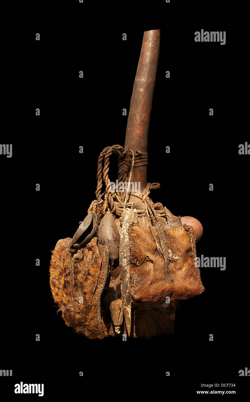 Hunter's calabash, used for palm wine. Democratic Republic of the Congo. Calabash, wood, leather, resin, feathers, - Stock Image