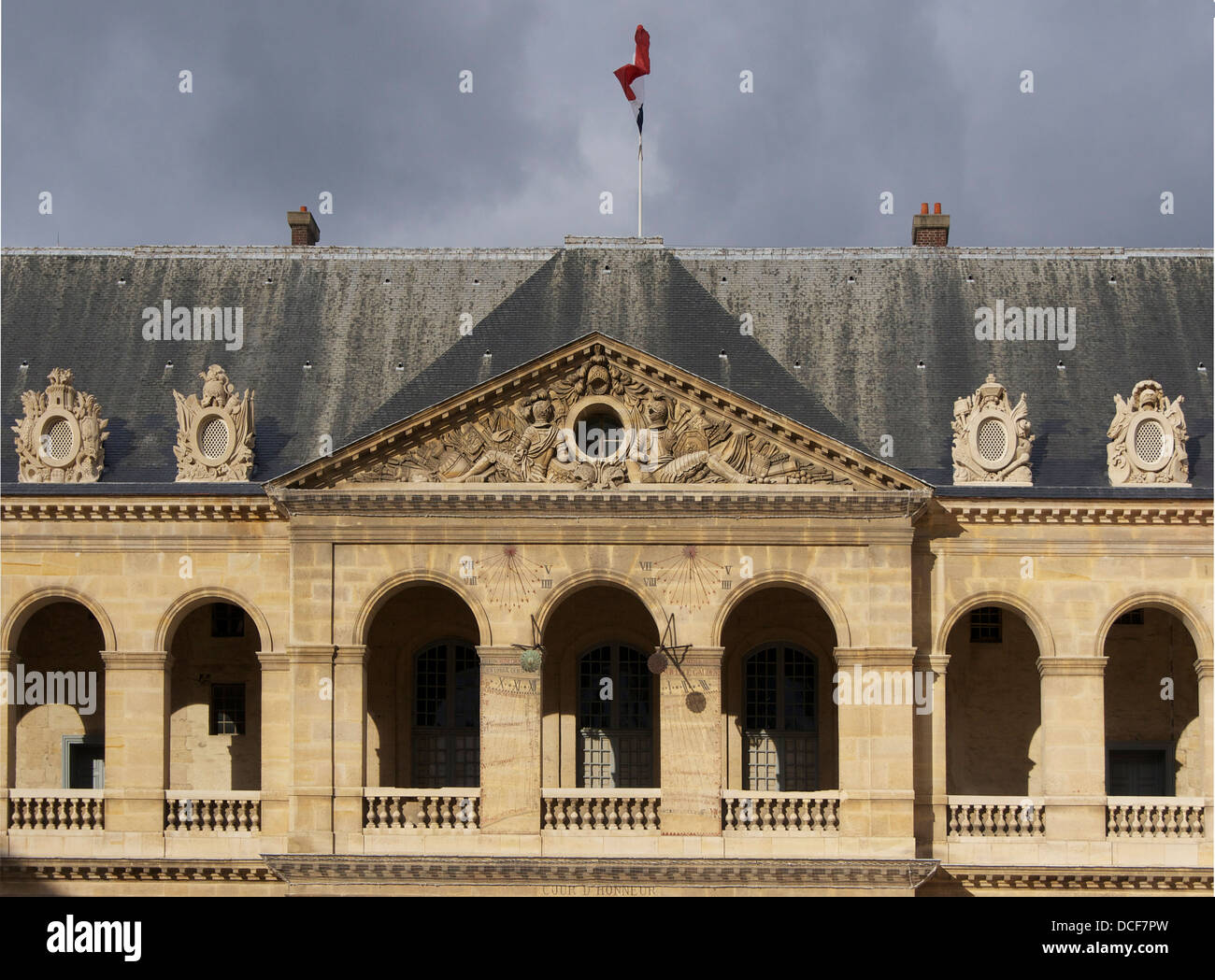 inside the 'honor courtyard' of Les Invalides, Paris - Stock Image