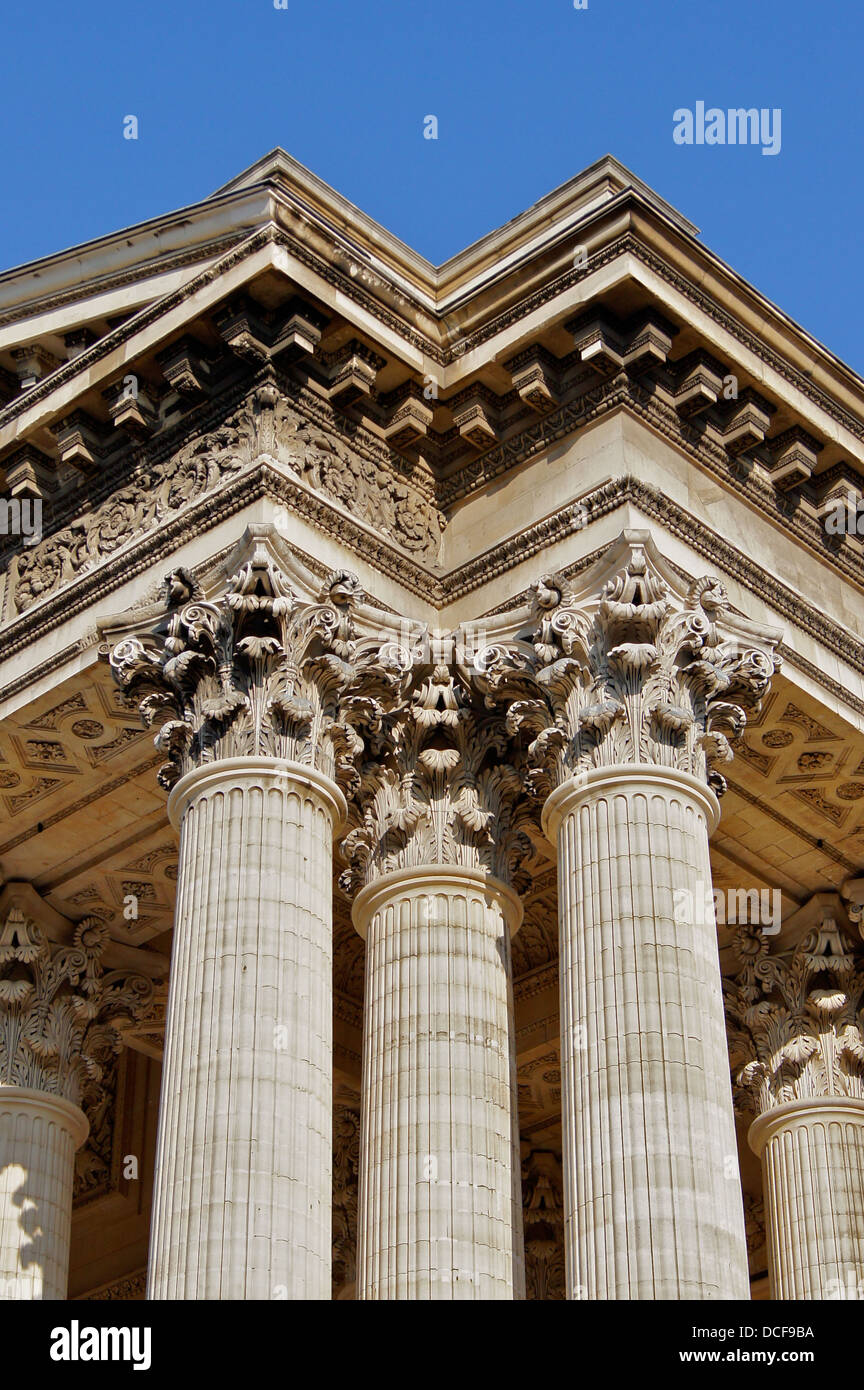 neo classical columns and capitals of the Pantheon of Paris - Stock Image