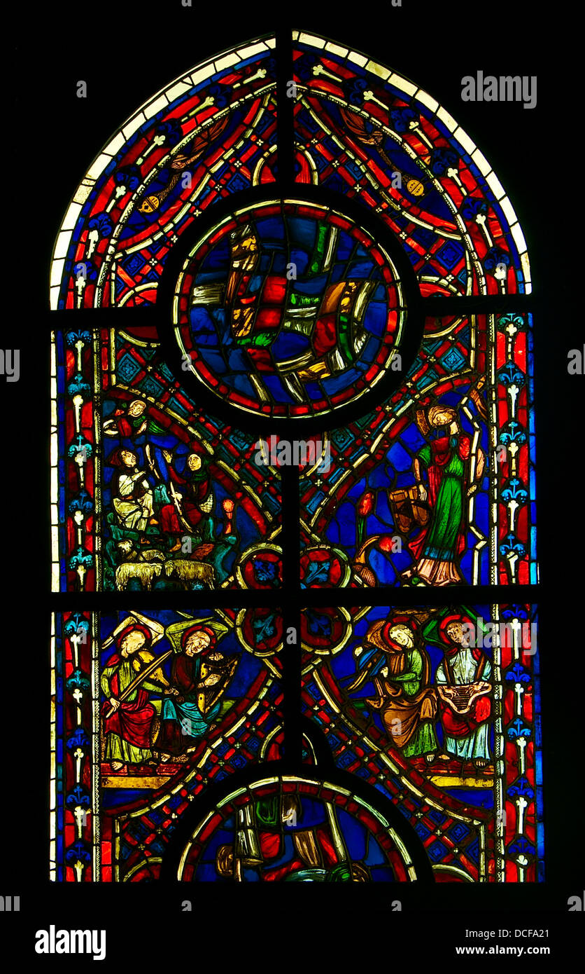 Stained Glass Window Early Gothic Period Ca1220 Ancient Church Of Varennes Jarcy Ile De France THe Annoucement To The Shep