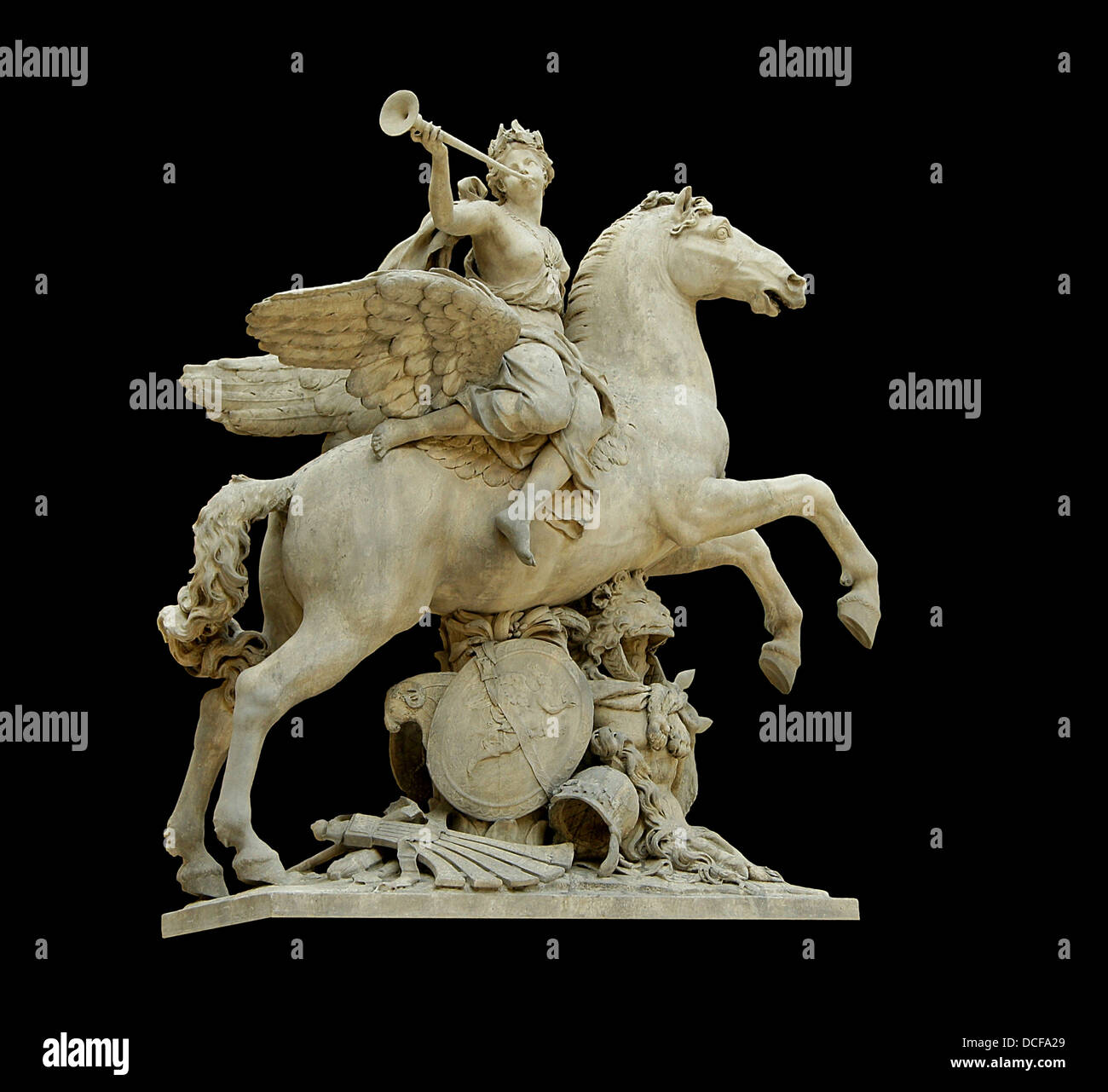 The (King's) fame riding Pegasus. - Stock Image
