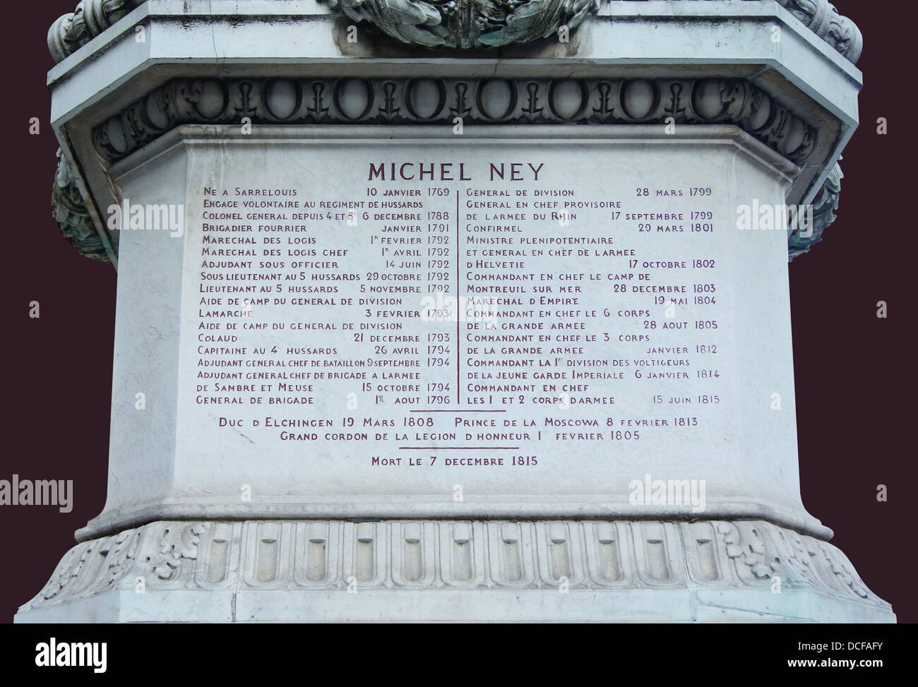 statue of Marshall Michel Ney (The Bravest of the Brave) in Paris, relating his military career during the Revolution - Stock Image